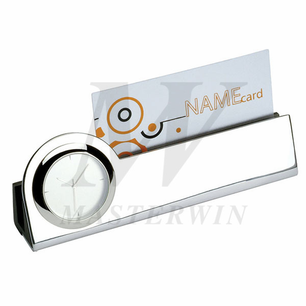 Metal Desk Quartz Clock with Name Card Holder_B86256