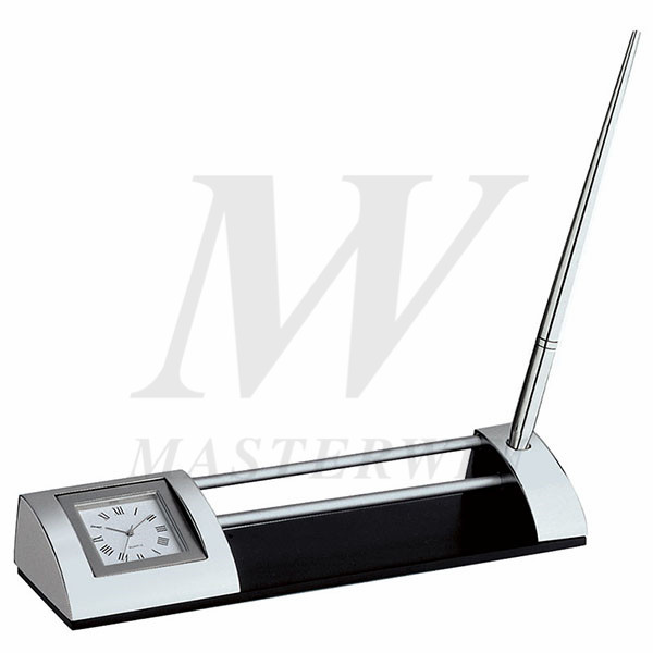 Metal Desk Quartz Clock with Name Card Holder and Pen_B2021-P66
