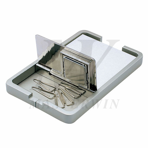 Metal Desk Quartz Clock with Memo Pad Holder and Clips Holder_B82903_s1