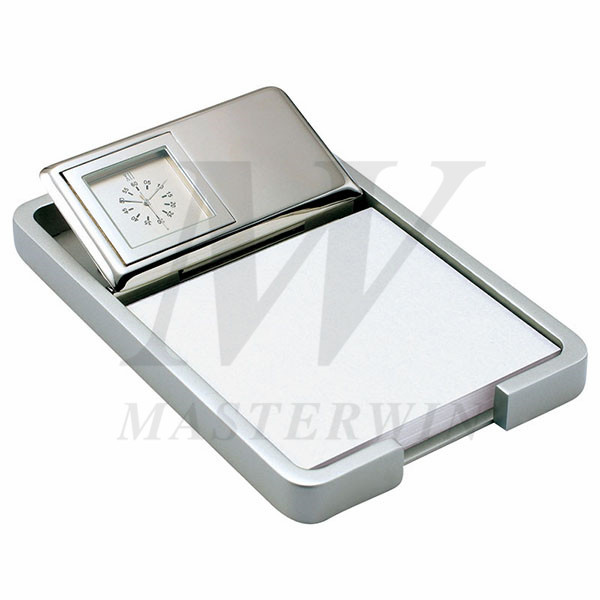 Metal Desk Quartz Clock with Memo Pad Holder and Clips Holder_B82903