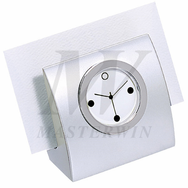 Metal Desk Quartz Clock with Name Card Holder_82003