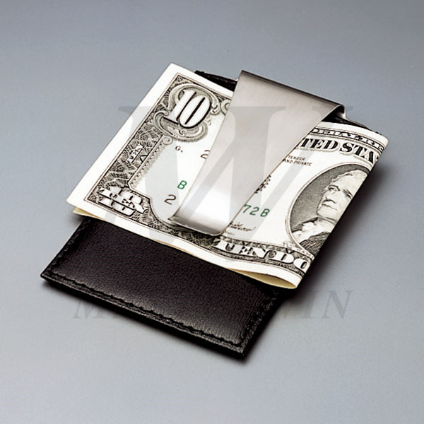 Leather_Metal Credit Card Pouch with Money Clip_B82866_s1