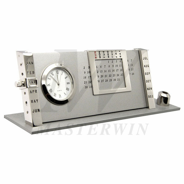Metal Desk Clock with Perpetual Calendar and Pen Stand_733-02-P940-01