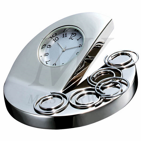 Metal Desk Quartz Clock with Magnetic Clip Holder_84757