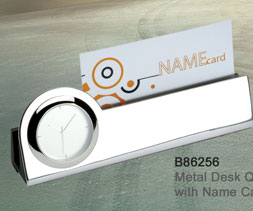 B86256_Metal_Desk_Quartz_Clock_with_Name_Card_Holder