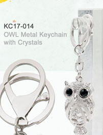 OWL Metal Keychain with Crystals_KC17-014